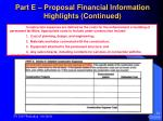 part e proposal financial information highlights continued31