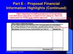 part e proposal financial information highlights continued32