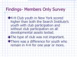 findings members only survey