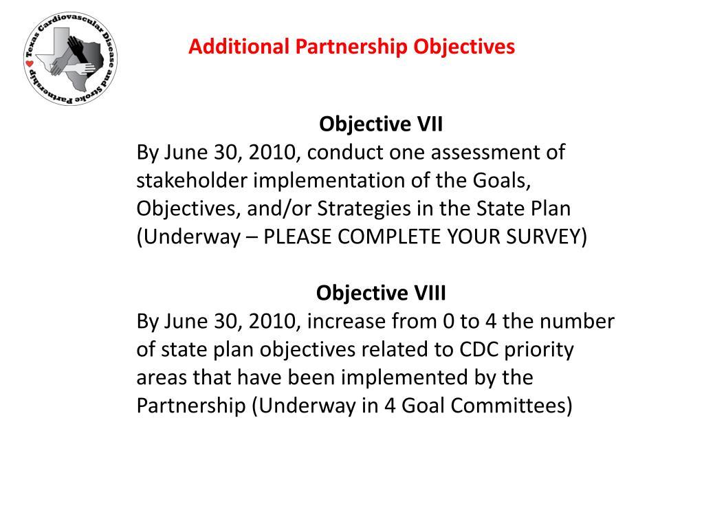 Additional Partnership Objectives