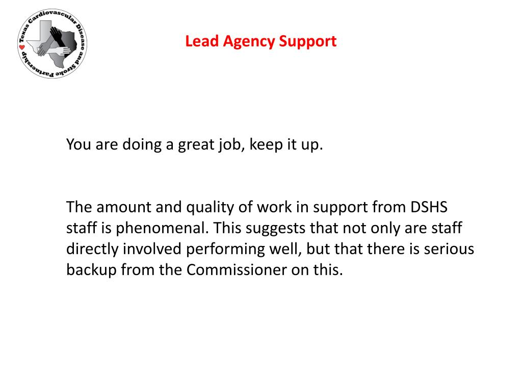 Lead Agency Support
