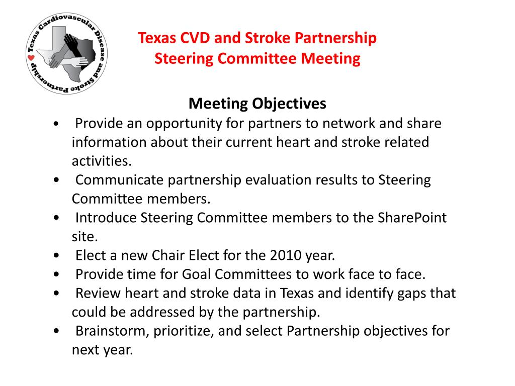 texas cvd and stroke partnership steering committee meeting l.
