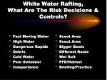 white water rafting what are the risk decisions controls