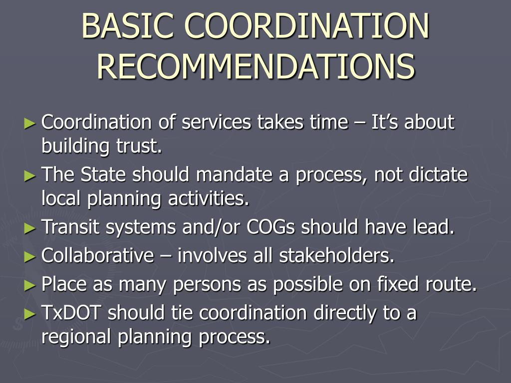 BASIC COORDINATION RECOMMENDATIONS