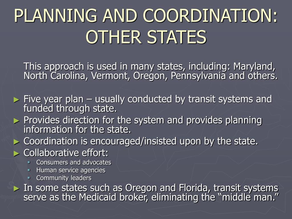 PLANNING AND COORDINATION: