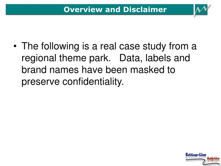 Overview and Disclaimer