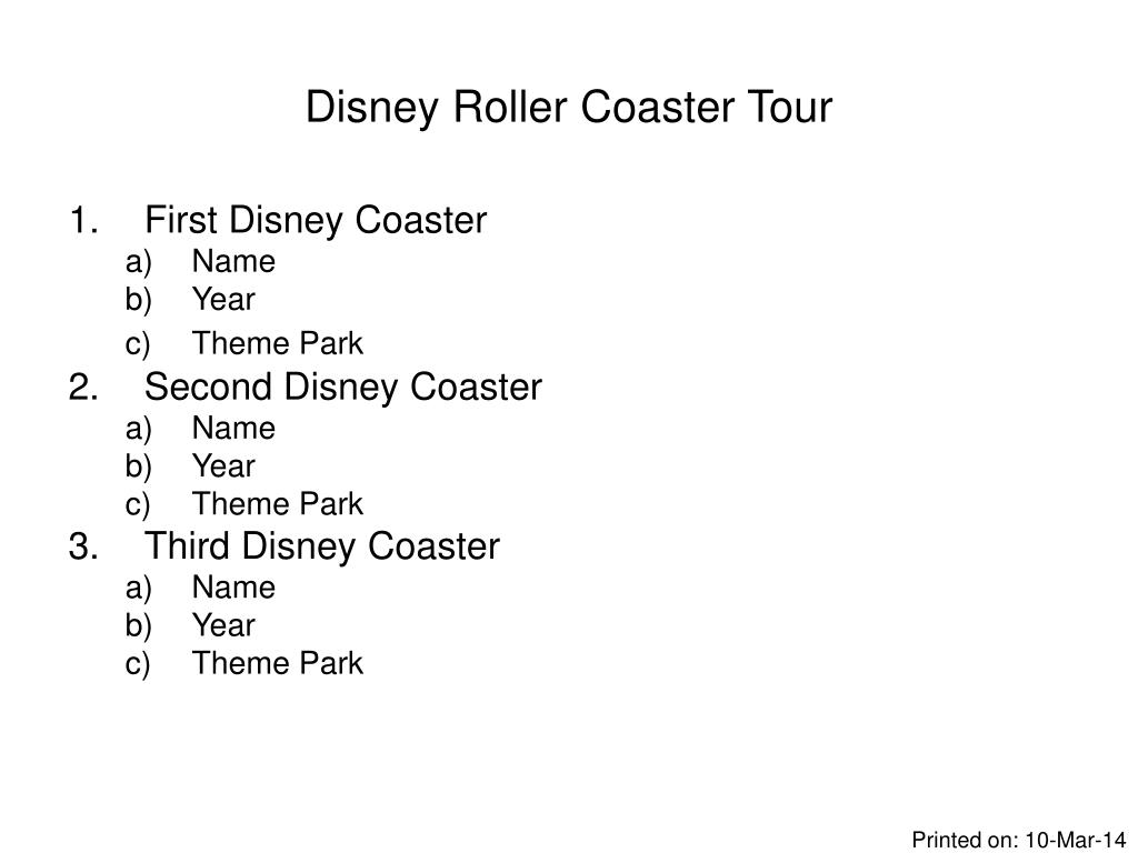 Disney Roller Coaster Tour