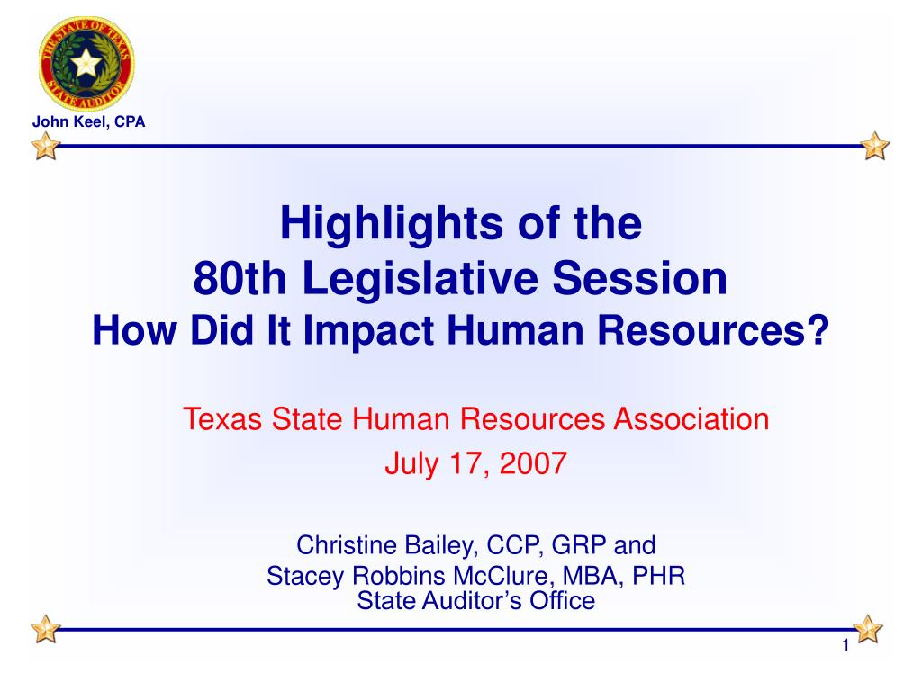 highlights of the 80th legislative session how did it impact human resources l.