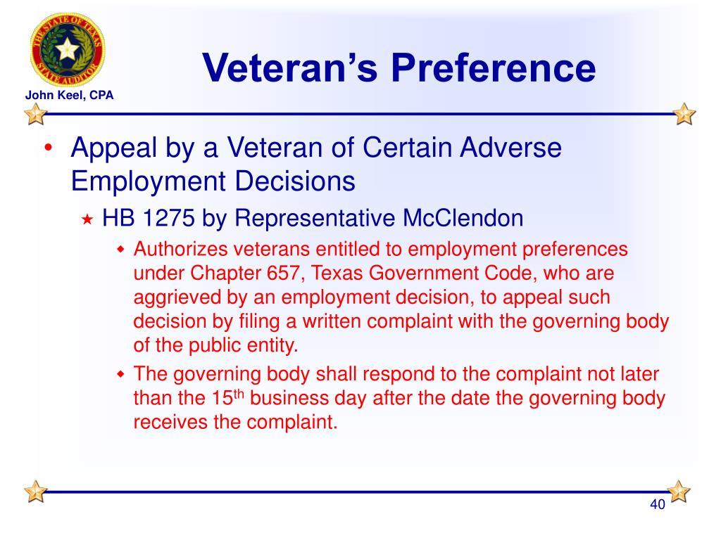 Veteran's Preference