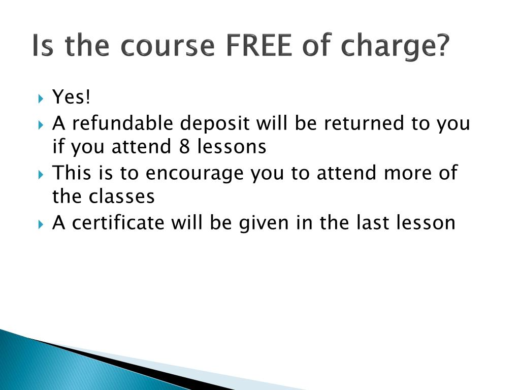 Is the course FREE of charge?
