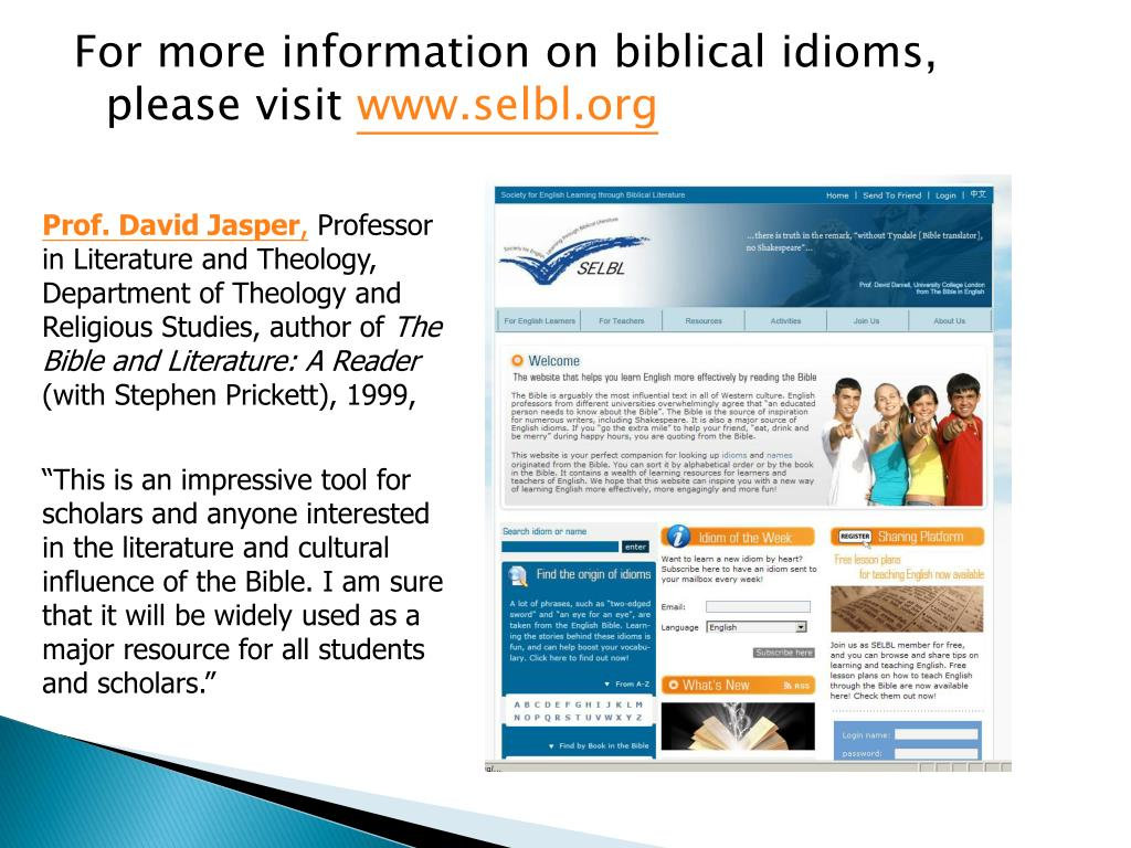 For more information on biblical idioms, please visit