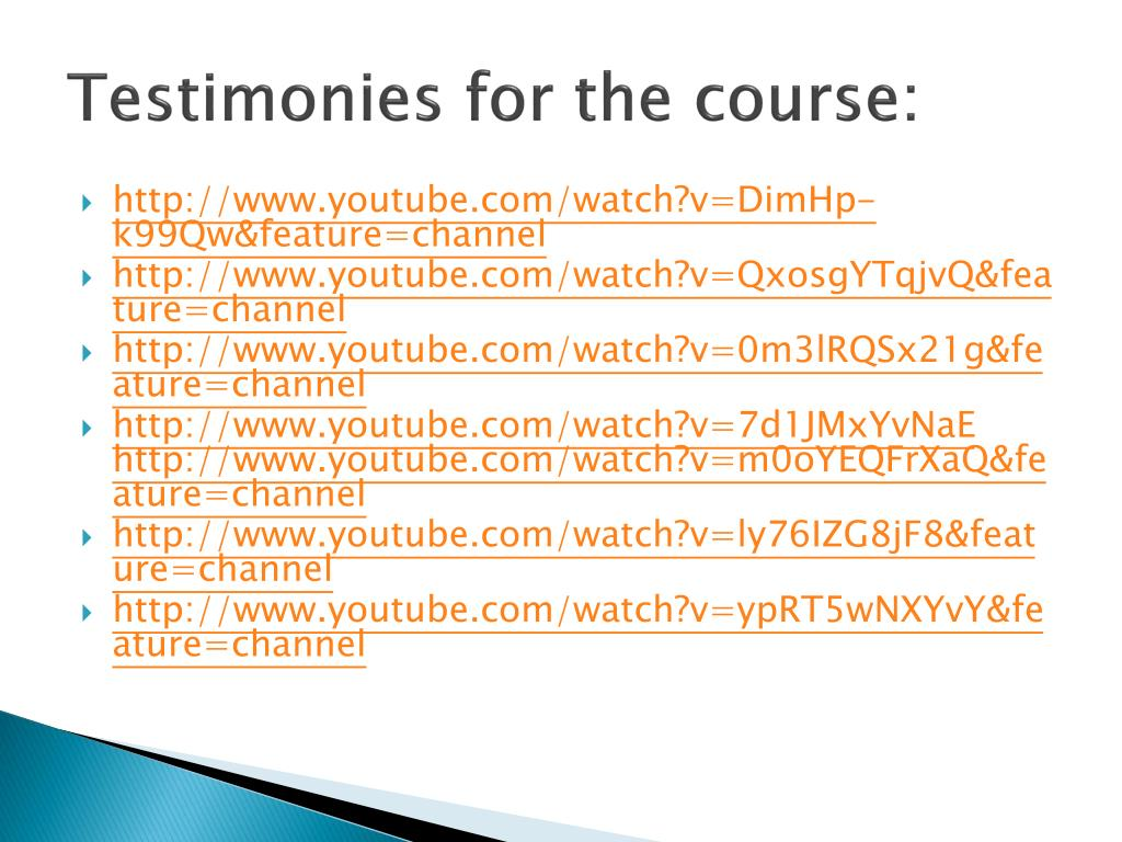 Testimonies for the course: