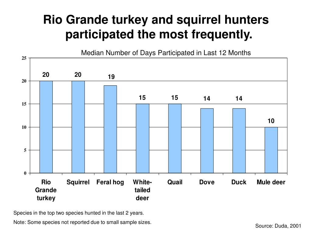 Rio Grande turkey and squirrel hunters participated the most frequently.
