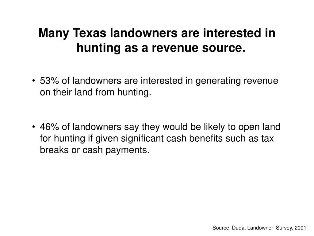 Many Texas landowners are interested in hunting as a revenue source.