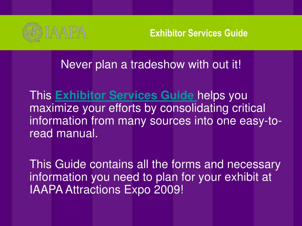 Exhibitor Services Guide