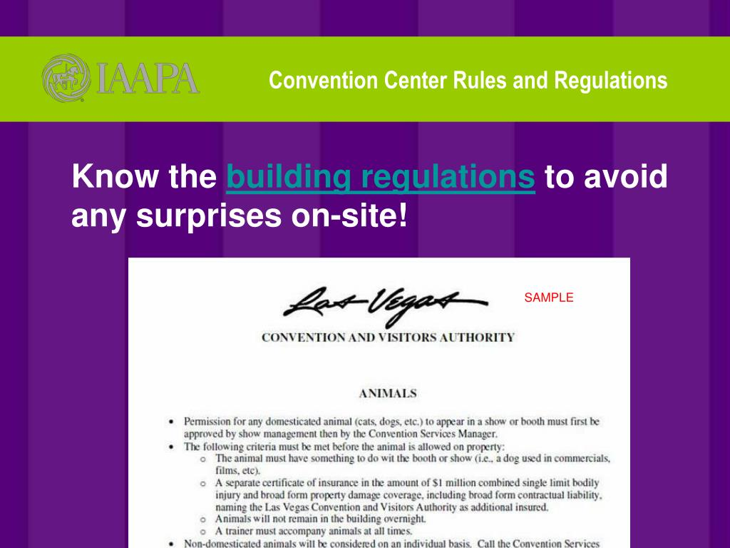 Convention Center Rules and Regulations