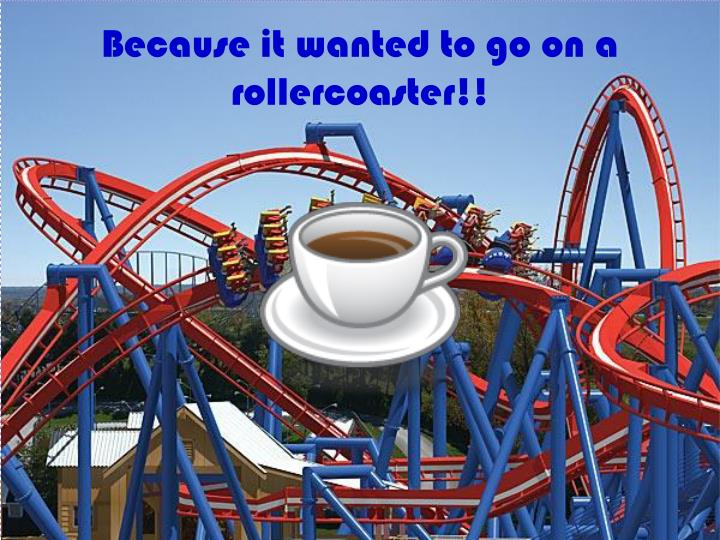 Because it wanted to go on a rollercoaster