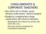 conglomerates corporate takeovers