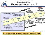funded plan focus on steps 1 and 2