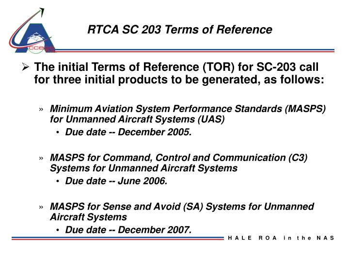 RTCA SC 203 Terms of Reference
