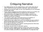 critiquing narrative