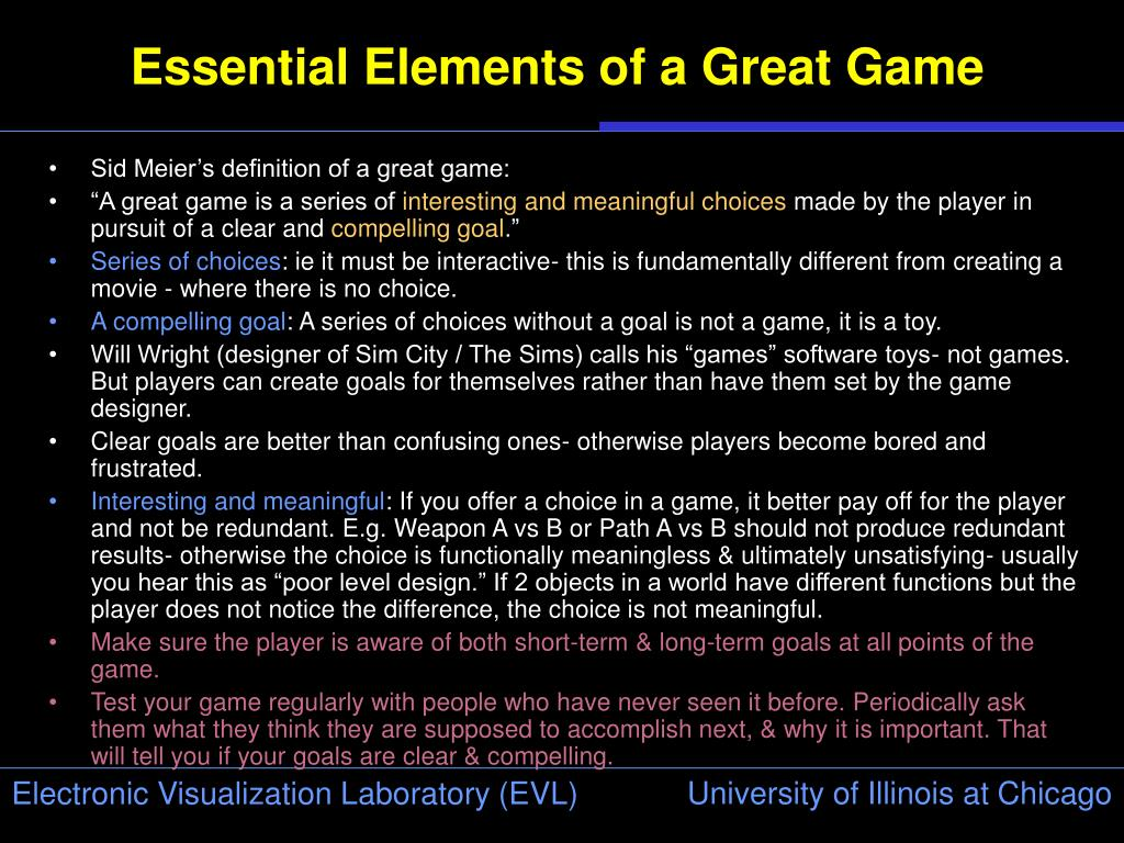Essential Elements of a Great Game