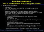 final documentation this is an elaboration of the design document
