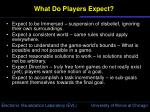 what do players expect