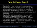 what do players expect5
