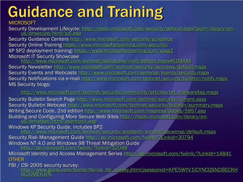Guidance and Training