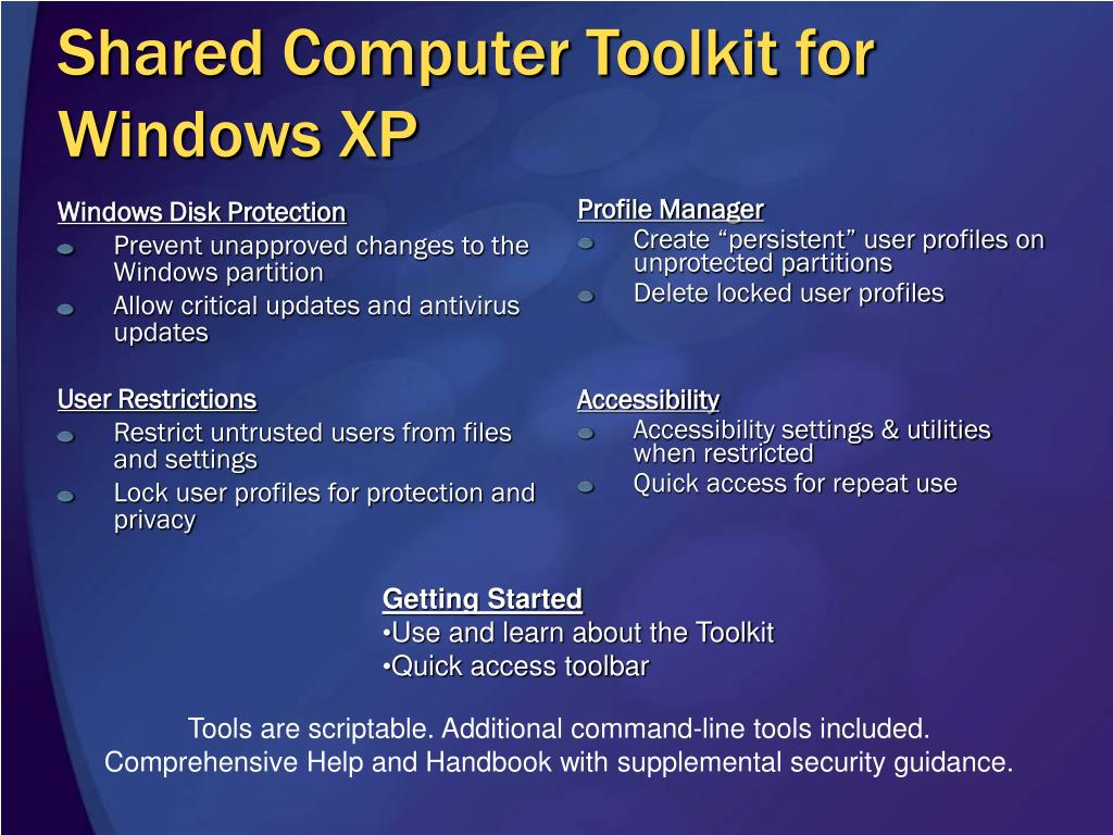 Shared Computer Toolkit for Windows XP