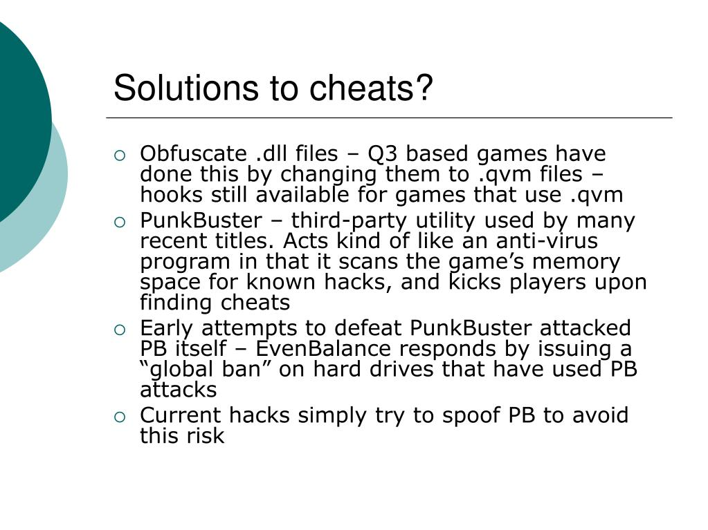 Solutions to cheats?