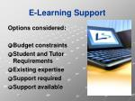 e learning support