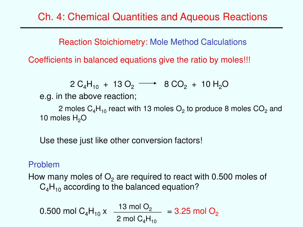 Ppt Reaction Stoichiometry Mole Method Calculations Powerpoint