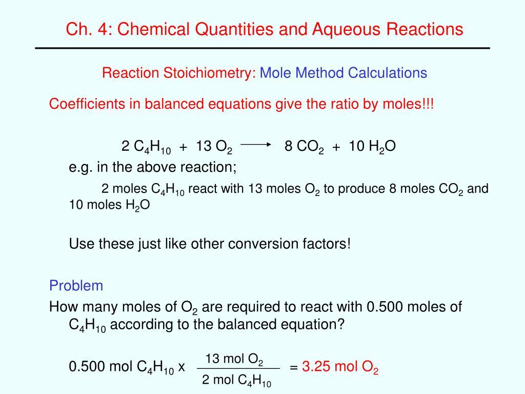 reaction stoichiometry mole method calculations l.