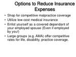 options to reduce insurance expenses