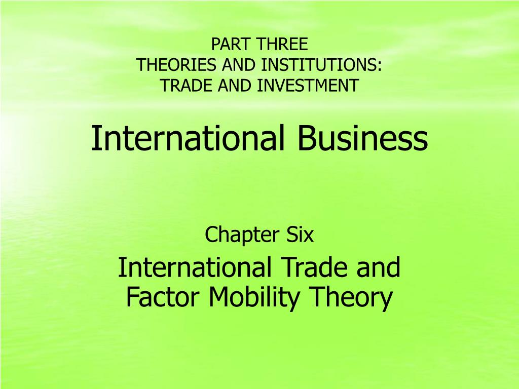 theories of international business ppt