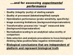 and for assessing experimental performance
