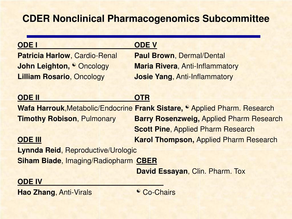 CDER Nonclinical Pharmacogenomics Subcommittee