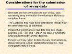 considerations for the submission of array data