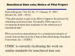 nonclinical data sets notice of pilot project