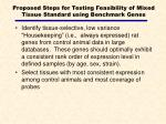 proposed steps for testing feasibility of mixed tissue standard using benchmark genes