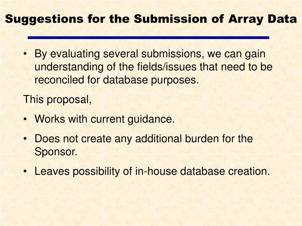 Suggestions for the Submission of Array Data