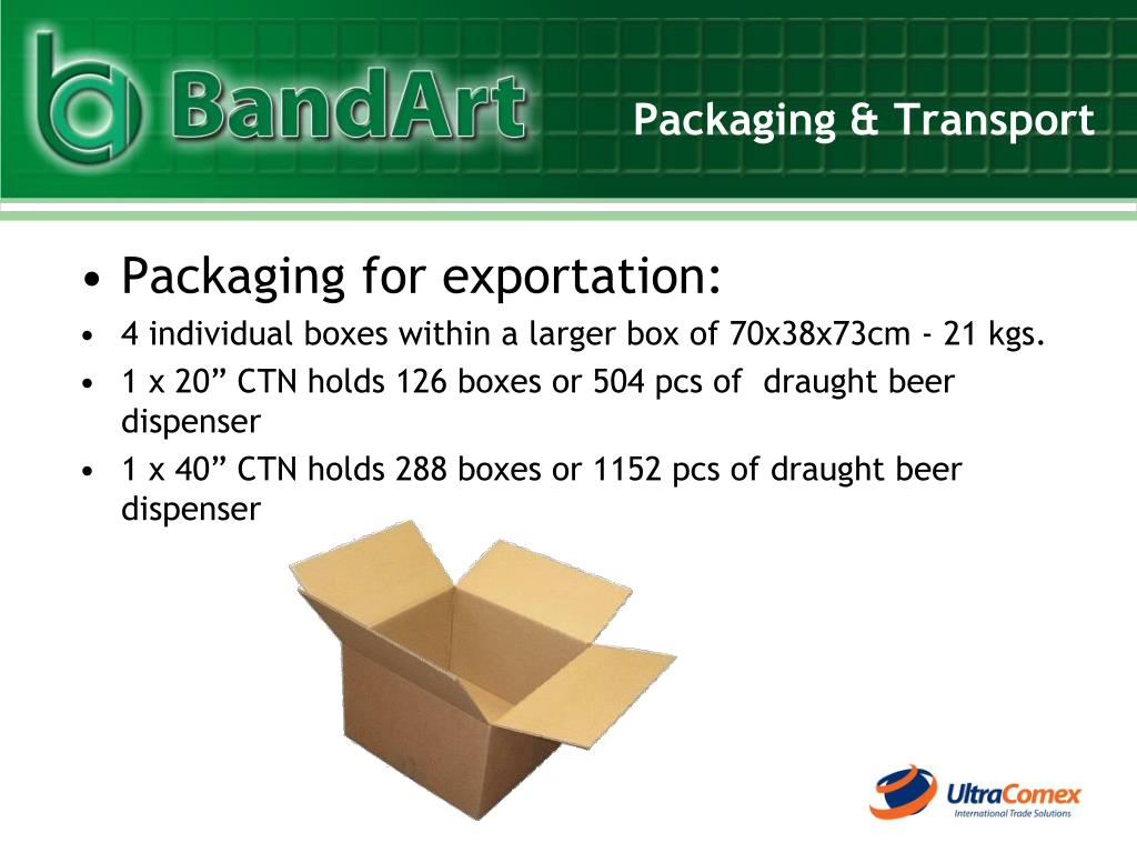 Packaging for exportation: