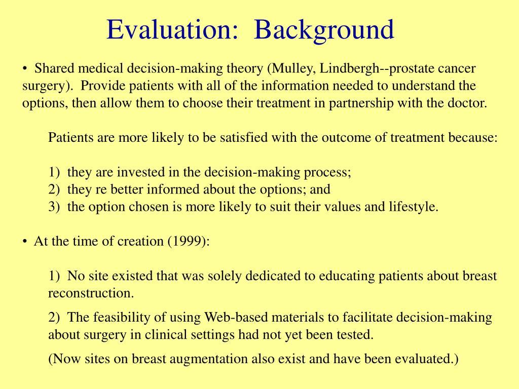 Evaluation:  Background