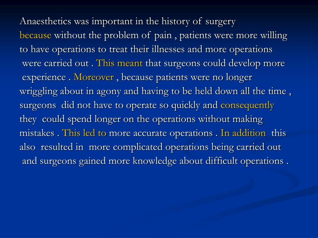 Anaesthetics was important in the history of surgery