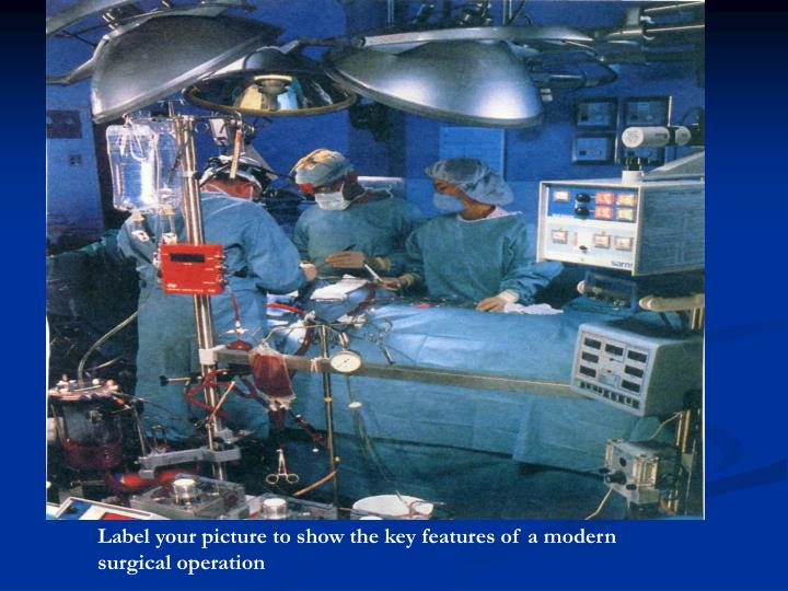 Label your picture to show the key features of a modern  surgical operation