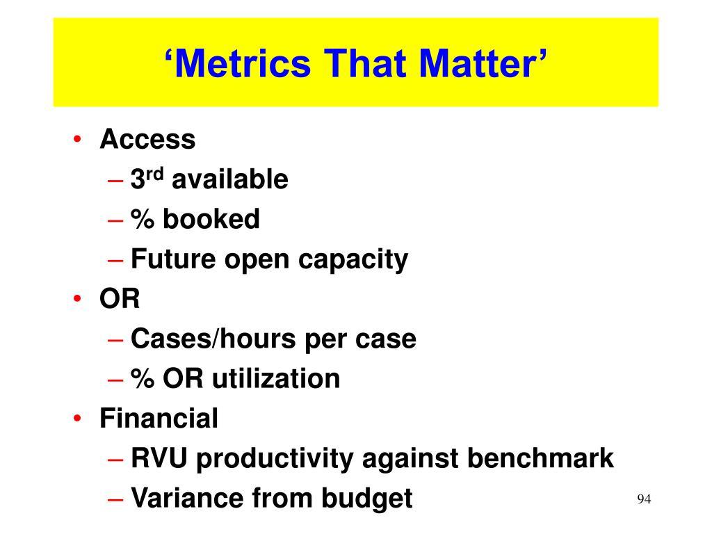 'Metrics That Matter'