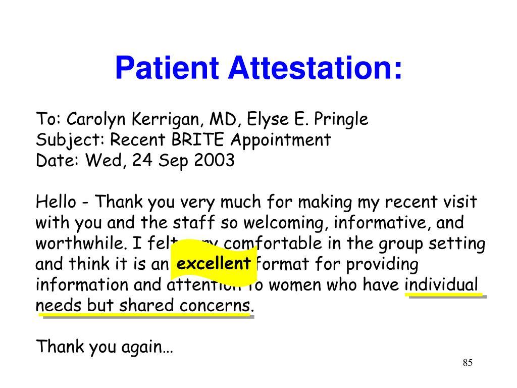 Patient Attestation: