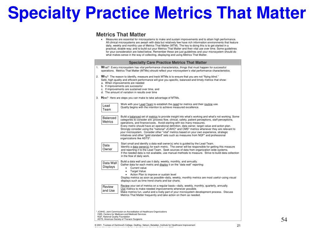 Specialty Practice Metrics That Matter